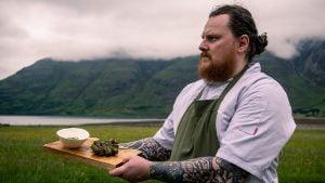 Torridon chef Paul Green with the midge proof BBQ Scotch Beef